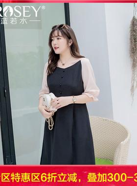 胖女人大码女装2021夏装新款胖MM宽松气质遮肚显瘦减龄雪纺连衣裙