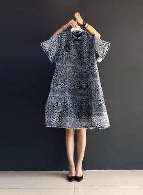 胖mm雪纺连衣裙子2021新款夏装大码女装显瘦气质中国风宽松裙洋气