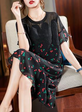 衣品乐欧洲站大码新款蕾丝印花雪纺连衣裙宽松胖妹妹mm女装2021夏