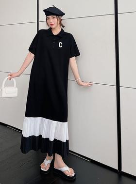 胖mm夏季新款连衣裙200斤大码女装时尚雪纺拼接宽松polo领T恤长裙