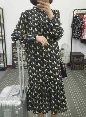 雪纺长袖连衣裙2021春夏新款韩国外贸女装中长款裙子大码宽松显瘦