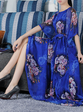 中年妈妈2021新款春夏连衣裙圆领碎花宽松大码显瘦雪纺女夏季裙子