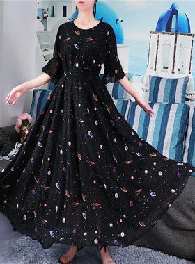 2021新款雪纺连衣裙大码宽松显瘦高腰小碎花春夏过膝长裙女复古裙