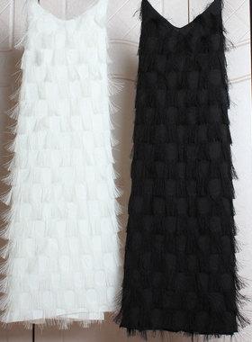 春夏季2021新款女装雪纺V领宽松蕾丝性感流苏羽毛吊带连衣裙外穿