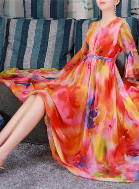 2021新款碎花雪纺连衣裙春夏宽松中长款裙子气质印花V领长裙大摆