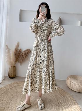 雪纺碎花连衣裙子2021年春夏新款宽松法式复古气质显瘦超仙女长裙