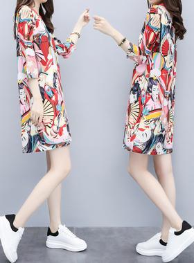 2021春季新款女装气质韩版宽松裙子显瘦七分袖雪纺直筒连衣裙女夏