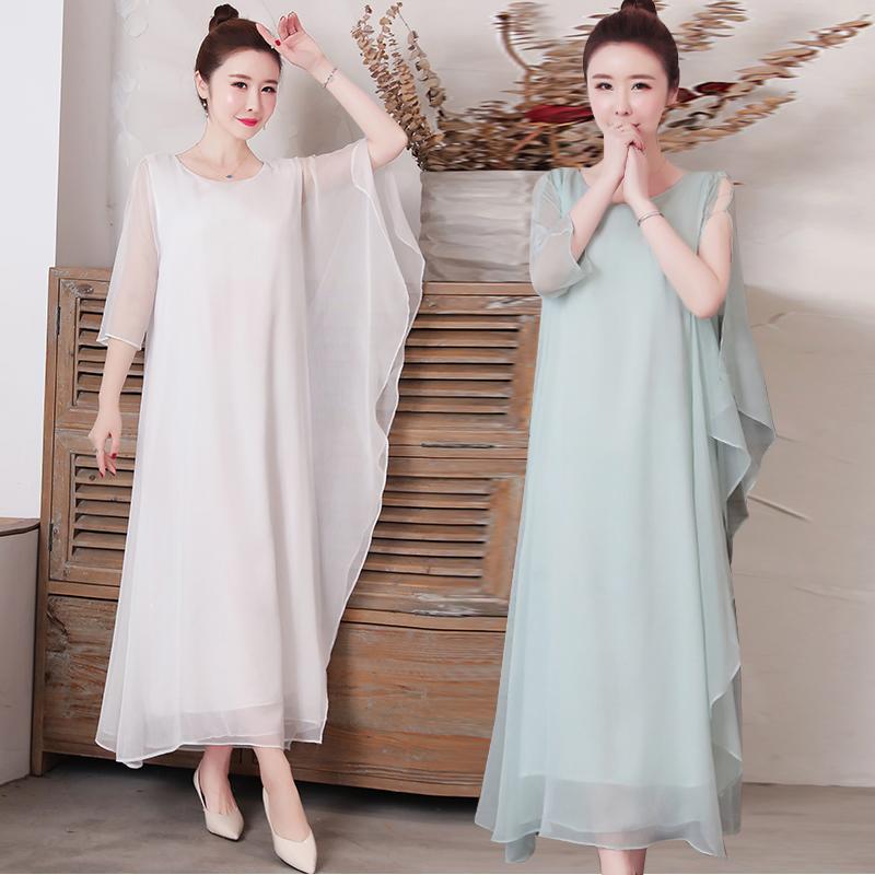 2021春夏季新款复古中式雪纺连衣裙大摆裙宽松禅意仙女禅服长裙子