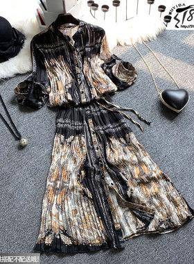 欧洲站2021春夏新款欧货时尚气质中长款开衫宽松碎花雪纺连衣裙女
