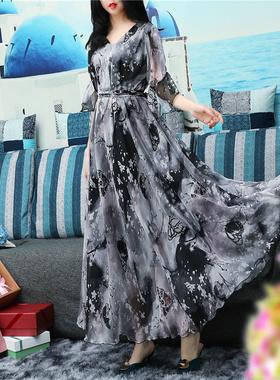 2021春新款雪纺连衣裙大码宽松显瘦碎花夏季沙漠长裙及踝超大裙摆