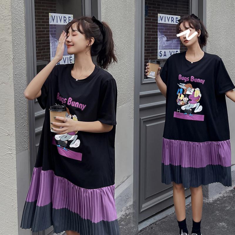 大码女装韩版2021春夏新款胖mm遮肉减龄拼接雪纺裙子女宽松连衣裙