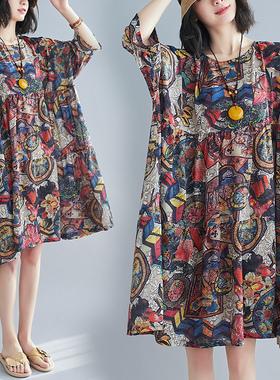 2021春夏新款200斤文艺雪纺中袖宽松印花连衣裙女装复古遮肚显瘦