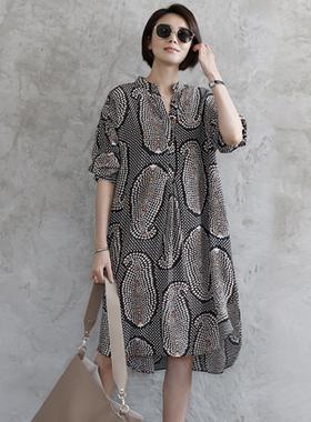 雪纺连衣裙女2021年新款春夏欧洲站设计感贵夫人宽松波点印花裙子