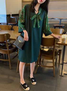 法式2021春夏新款女装大码气质显瘦裙子女时尚宽松雪纺胖MM连衣裙