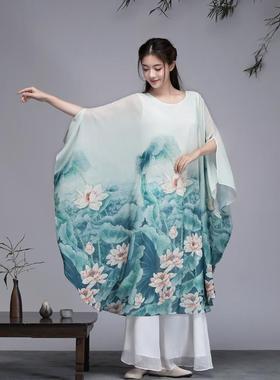 茶逸园2021新款春夏禅意连衣裙女装中式复古印花雪纺宽松大摆裙子