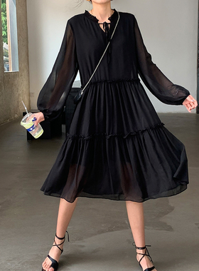 法式复古雪纺连衣裙女2021春夏新款设计感小众中长款宽松黑色裙子
