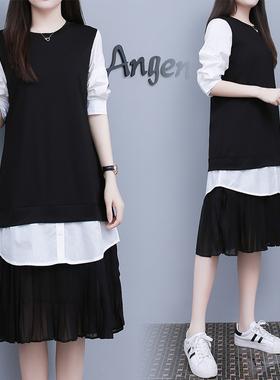 实拍 2021春夏新款韩国东大门女装宽松直筒假两件雪纺拼接连衣裙
