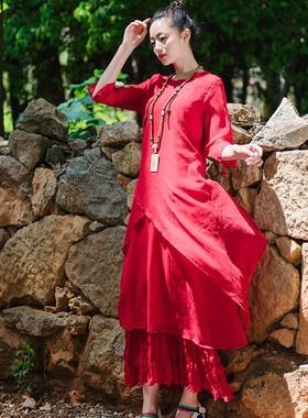 2021春夏季新款 两件套装雪纺连衣裙中袖不规则宽松长裙丝薄裙子