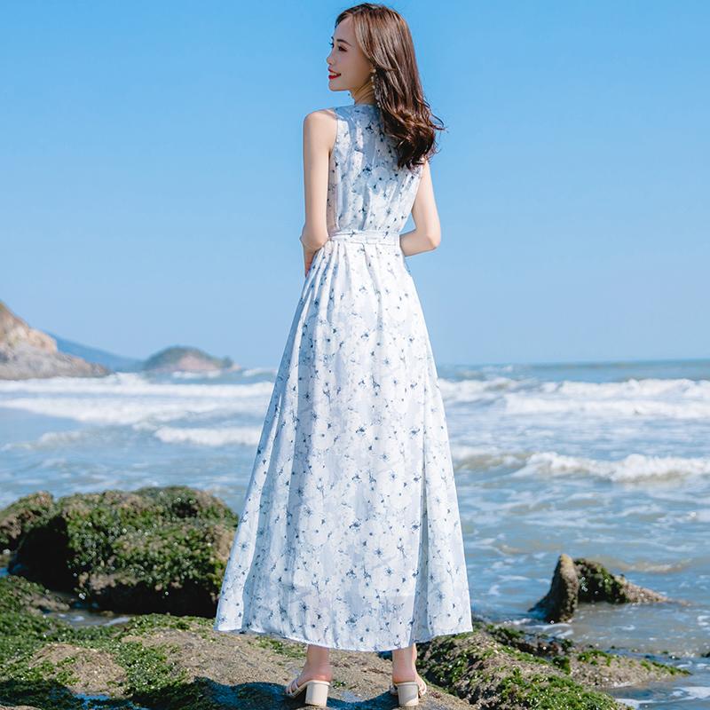 仙女沙滩裙2021春夏新款海边度假雪纺宽松舒适超仙连衣裙