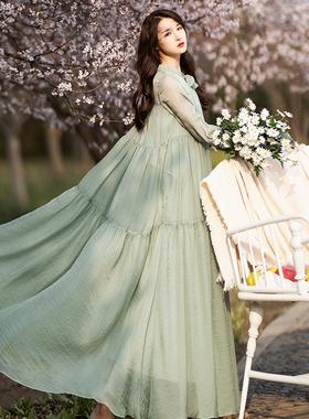 棉麻记拼接雪纺连衣裙女春夏2021年新款宽松大裙摆长裙绿色裙子仙