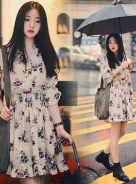 代发2021春夏新款韩版宽松长袖收腰时尚百搭小碎花女装雪纺连衣裙