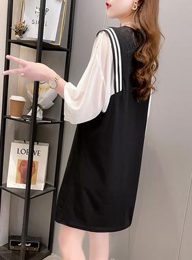 雪纺短款春季假两件短袖T恤女夏装2021新款宽松洋气半袖连衣裙子