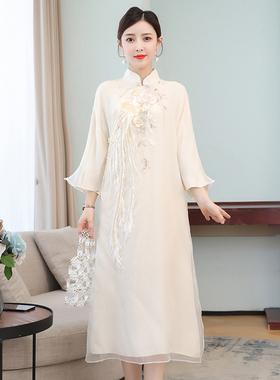 2021春夏新款中国风文艺复古宽松复古雪纺绣花改良旗袍长款连衣裙