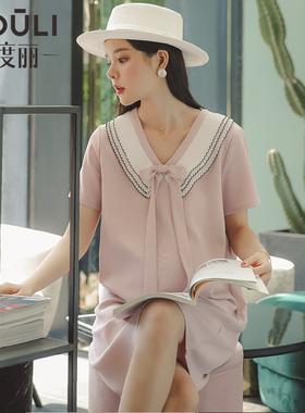 孕妇装夏装孕妇连衣裙夏季时尚款潮妈2021春新款夏天雪纺裙子宽松