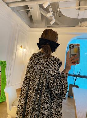 2021韩国东大门春夏新款黑色A字裙女气质碎花宽松显瘦雪纺连衣裙