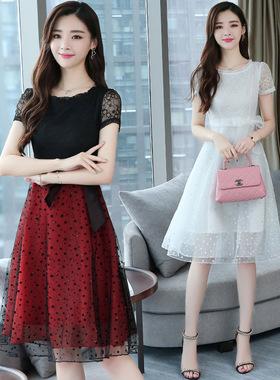 女装蕾丝连衣裙2021春夏新款时尚宽松大码中长款修身气质雪纺裙子