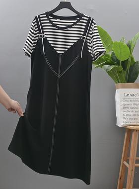 假两件大码雪纺连衣裙2021春夏新款韩版宽松显瘦气质减龄背带裙潮