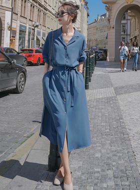 雾霾蓝法式衬衫连衣裙女春夏2021新款宽松高腰长袖V领雪纺衬衫裙