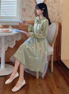 仙女超仙森系连衣裙女春夏装2021新款初中学生韩版宽松雪纺长裙子