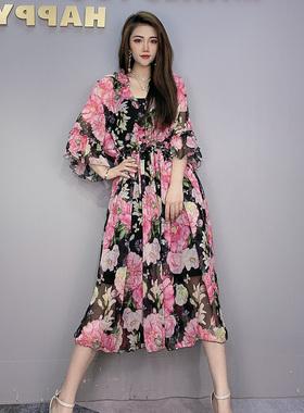 新款大摆裙子2021春夏季高端流行雪纺碎花连衣裙宽松飘逸沙滩长裙
