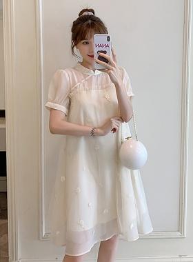孕妇裙夏装2021新款时尚夏孕妇雪纺连衣裙春夏小个子宽松短袖裙子