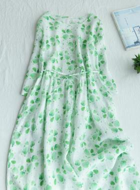 2021春夏新款圆领雪纺印花绿色树叶文艺系带宽松飘逸连衣裙长裙女