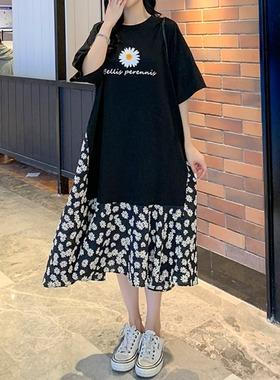 2021年春夏季新款中长款拼接雪纺假两件宽松短袖连衣裙女休闲显瘦