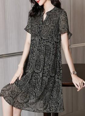 雪纺连衣裙子女装夏季2021年新款春短袖小个子气质高端宽松中长裙