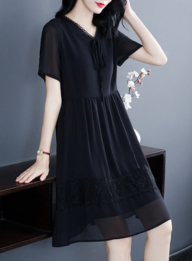 胖妹妹mm雪纺连衣裙显瘦春装大码女装2021年夏装新款宽松小黑裙子