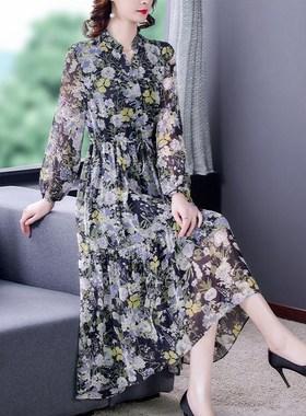 高档长袖碎花雪纺连衣裙女长款2021春夏新款宽松显瘦气质系带长裙