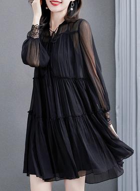 高端黑色雪纺连衣裙女春夏2021新款宽松遮肚子长袖短款两件套裙子