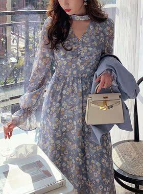 西装两件套2021春夏新款气质时尚宽松小西服女显瘦雪纺碎花连衣裙