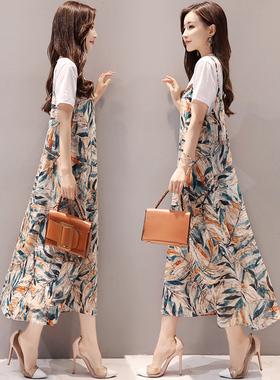 春夏2021新款女韩版宽松显瘦印花长裙雪纺吊带连衣裙夏两件套裙子