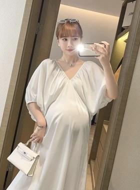 夏季2021新款孕妇夏装宽松孕晚期显瘦泡泡袖雪纺连衣裙长款春夏天