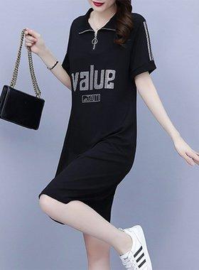 雪纺连衣裙子女早春季2021年新款夏季黑色宽松小个子法式气质短袖