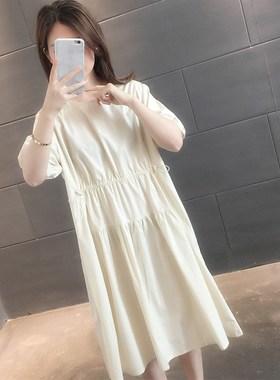 夏季薄款雪纺连衣裙女2021新款春秋装抽绳收腰宽松休闲长款小裙子