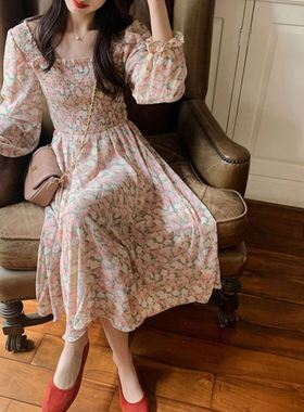 2021新款春夏百搭复古温柔碎花中长款宽松雪纺内搭中长裙连衣裙