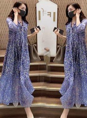 连衣裙女2021春夏新款时尚V领韩版宽松显瘦中长款雪纺碎花沙滩裙