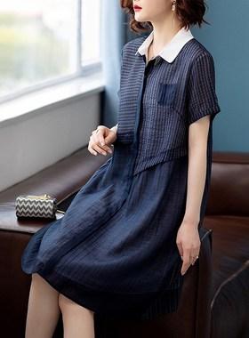 雪纺连衣裙子女装夏季2021年新款春秋宽松大码小个子法式气质短袖