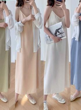 雪纺吊带连衣裙女2021新款春夏韩版宽松收腰气质显瘦中长款裙子潮